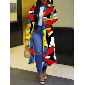 Lovely Trendy Turndown Collar Print Multicolor Long Trench Coat