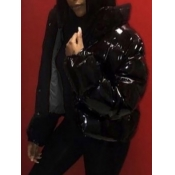 Lovely Stylish Zipper Design Black Parka