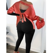 Lovely Stylish Backless Brick Red Sweater