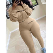 lovely Sportswear O Neck Letter Print Khaki Two Piece Pants Set