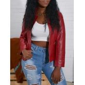 lovely Trendy Zipper Design Purplish Red Leather