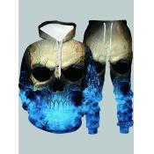 Lovely Street Hooded Collar Skull Print Multicolor