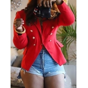 lovely Trendy Turn-back Collar Buttons Design Red Blazer