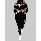 Lovely Casual Hooded Collar Leopard Print Patchwork Black Plus Size Two-piece Pants Set
