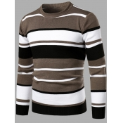 lovely Casual O Neck Striped Patchwork Grey Men Sw