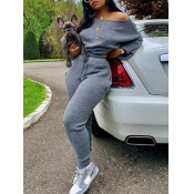 lovely Casual Basic Loose Grey Two Piece Pants Set