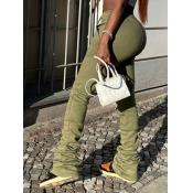 Lovely Street Fold Design Drawstring Army GreenPants