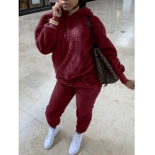 lovely Casual Hooded Collar Basic Wine Red Two Piece Pants Set