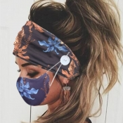 lovely Plants Print Deep Blue Face Mask(With Headb