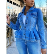 lovely Stylish Turndown Collar Flounce Design Blue Denim Jacket