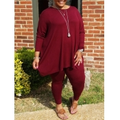 Lovely Casual O Neck Asymmetrical Wine Red Plus Size Two-piece Pants Set