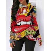 Lovely Street Hooded Collar Lip Print Zipper Design Multicolor Coat