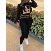 Lovely Sportswear O Neck Print Patchwork Black Two Piece Pants Set