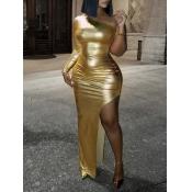 Lovely Sexy One Shoulder Side High Slit Gold Maxi Dress
