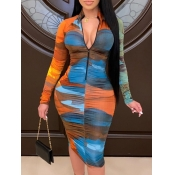 Lovely Trendy Tie-dye Zipper Design Blue Knee Length Dress