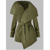 lovely Casual Turndown Collar Lace-up Green Coat