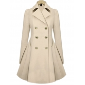 Lovely Stylish Turndown Collar Buttons Design Apricot Trench Coat