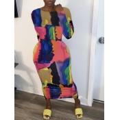 lovely Stylish O Neck Print Multicolor Ankle Length Dress