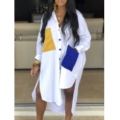 lovely Casual Turndown Collar Pocket Patched White Shirt Coat