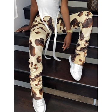 Lovely Street Print Apricot Pants