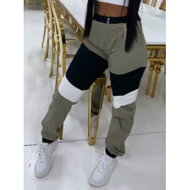 Lovely Sportswear Patchwork Army Green Pants
