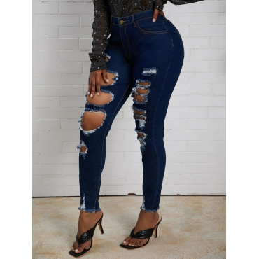 Lovely Trendy Broken Holes Deep Blue Jeans