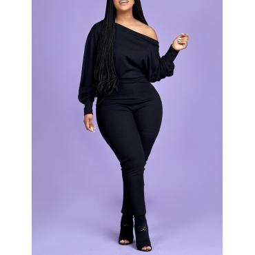 Lovely Leisure Basic Skinny Black Plus Size One-pi