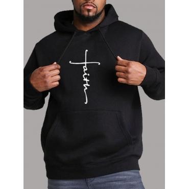 Lovely Casual Hooded Collar Print Black Men Hoodie