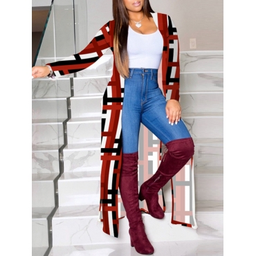 Lovely Stylish Grid Print Red Long Coat