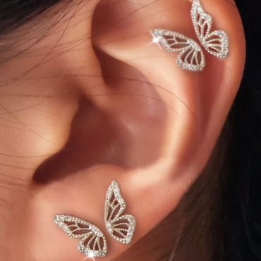 Lovely Stylish Butterfly Silver Earring