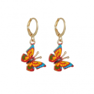 Lovely Stylish Butterfly Yellow Earring
