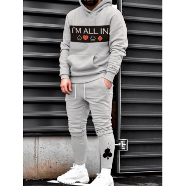 Lovely Leisure Hooded Collar Print Grey Men Two-pi