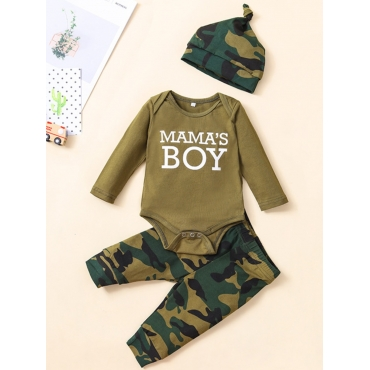 Lovely Casual O Neck Letter Print Green Boy Two-pi