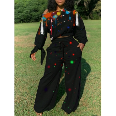 Lovely Casual Print Black Plus Size Two-piece Pant