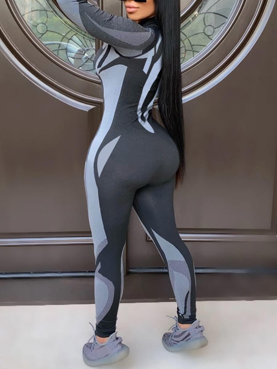 Lovely Sportswear Zipper Design Patchwork Black Gr