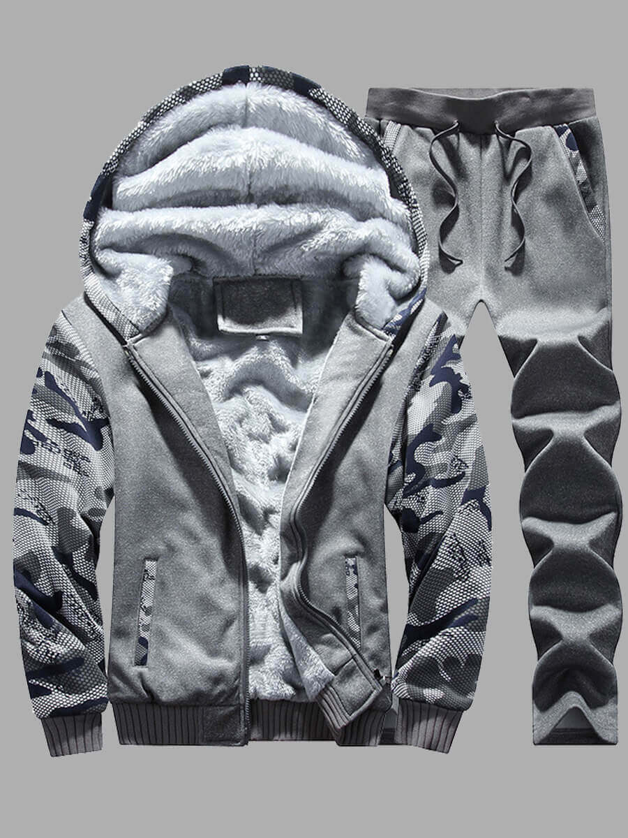Lovely Men Casual Hooded Collar Print Patchwork Dark Grey Two-piece Pants Set