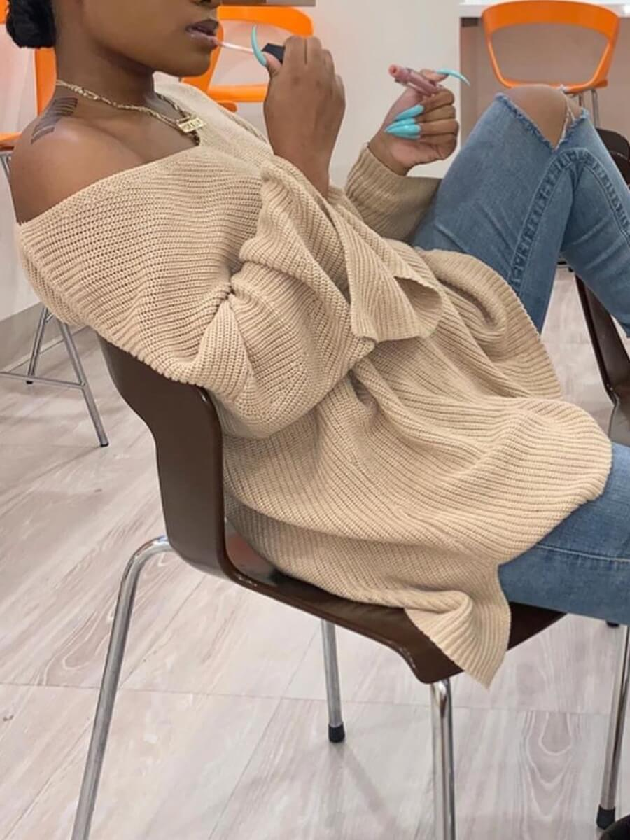 lovely Leisure V Neck Loose Apricot Sweater