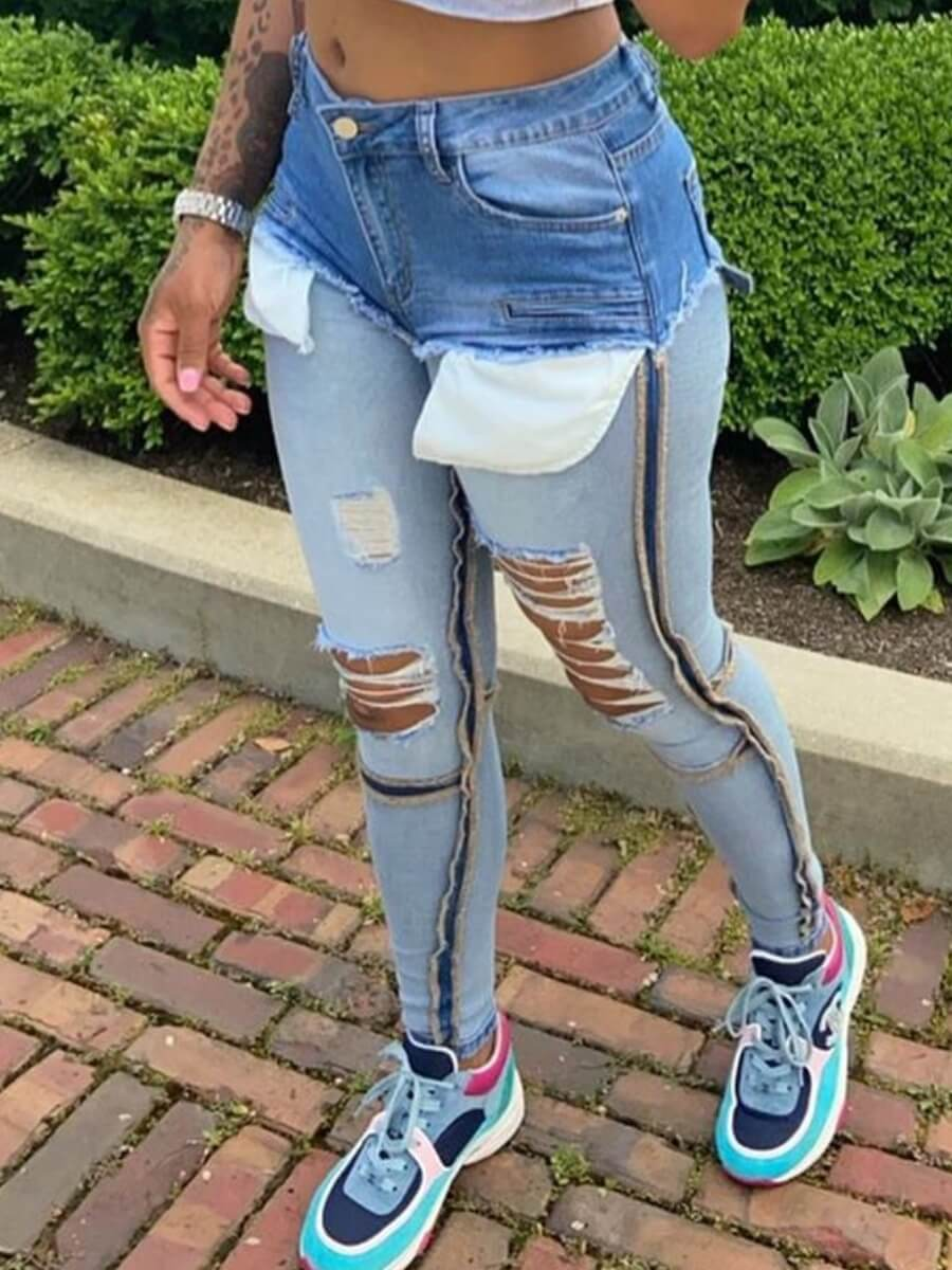 Lovely Street Hollow-out Patchwork Blue Jeans
