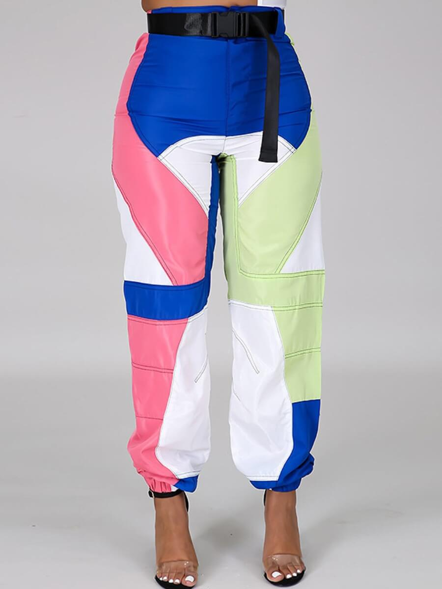 Lovely Street Patchwork Loose Blue Pants