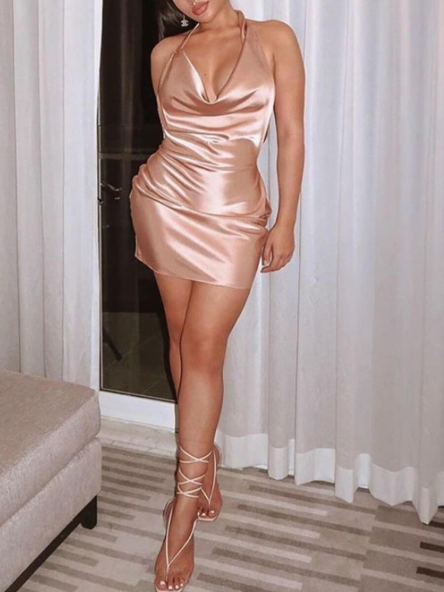 LW SXY Backless Fold Design Prom Dress