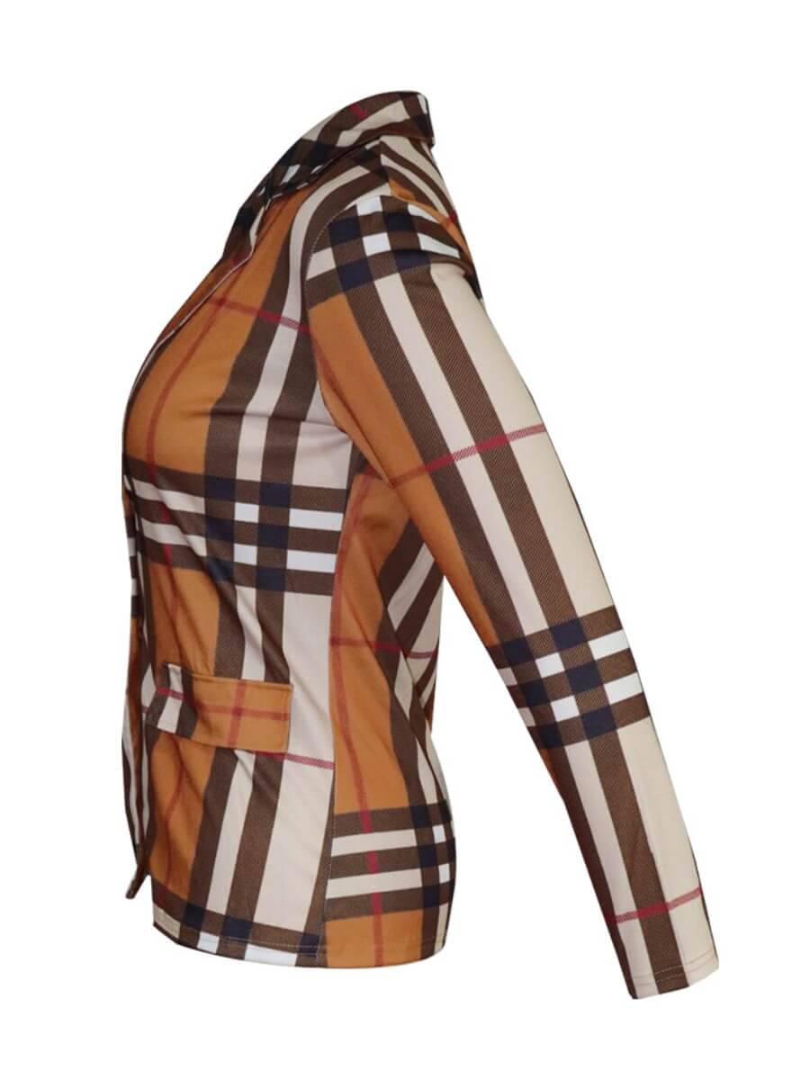 Lovely Stylish Turndown Collar Grid Print Brown Bl