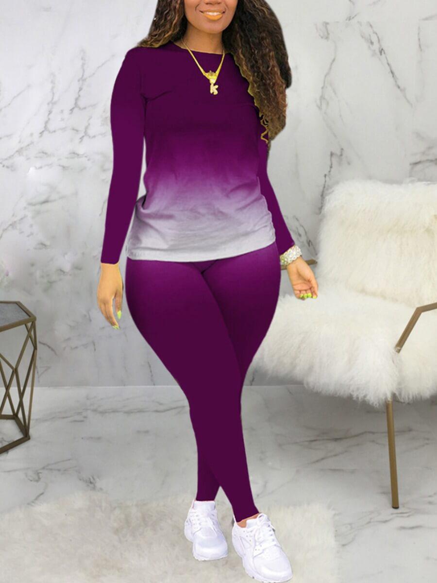 LW Plus Size Casual O Neck Gradient Print Purple Two-piece Pants Set