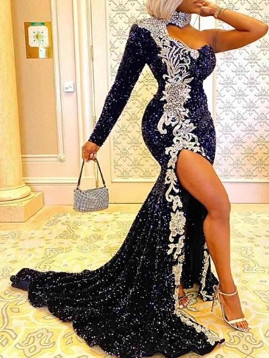 LW SXY Party One Shoulder Sequined Side High Slit Black Trailing Dress