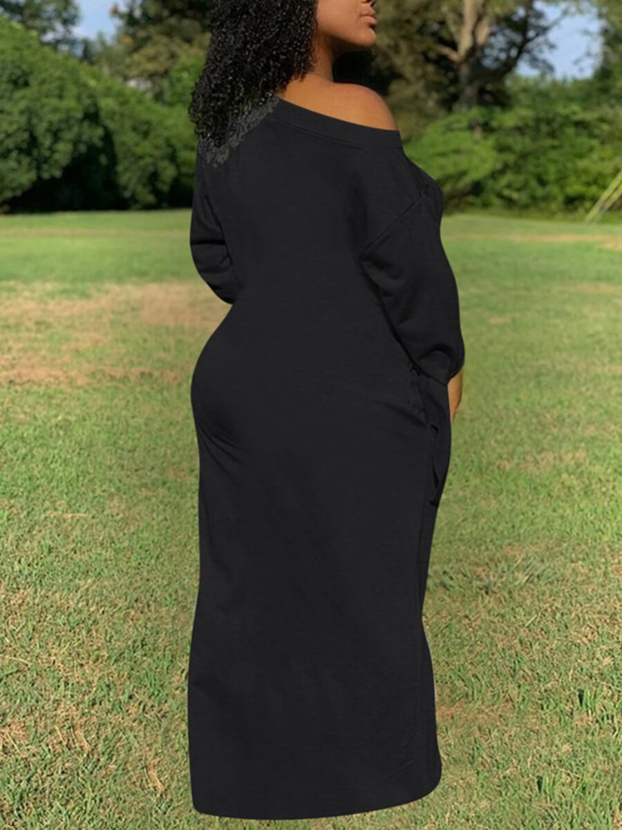 Lovely Casual Basic Loose Black Maxi Plus Size Dre