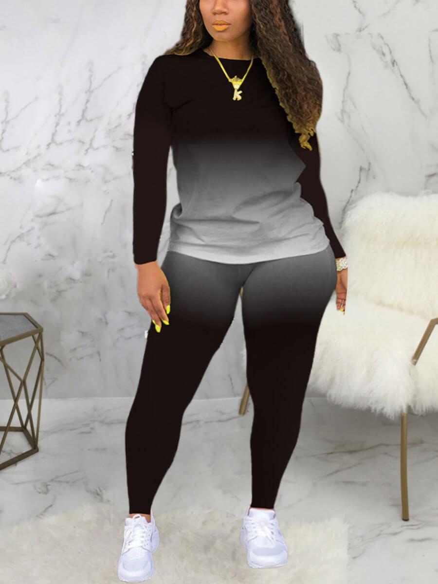 LW Casual O Neck Gradient Print Black Two Piece Pants Set