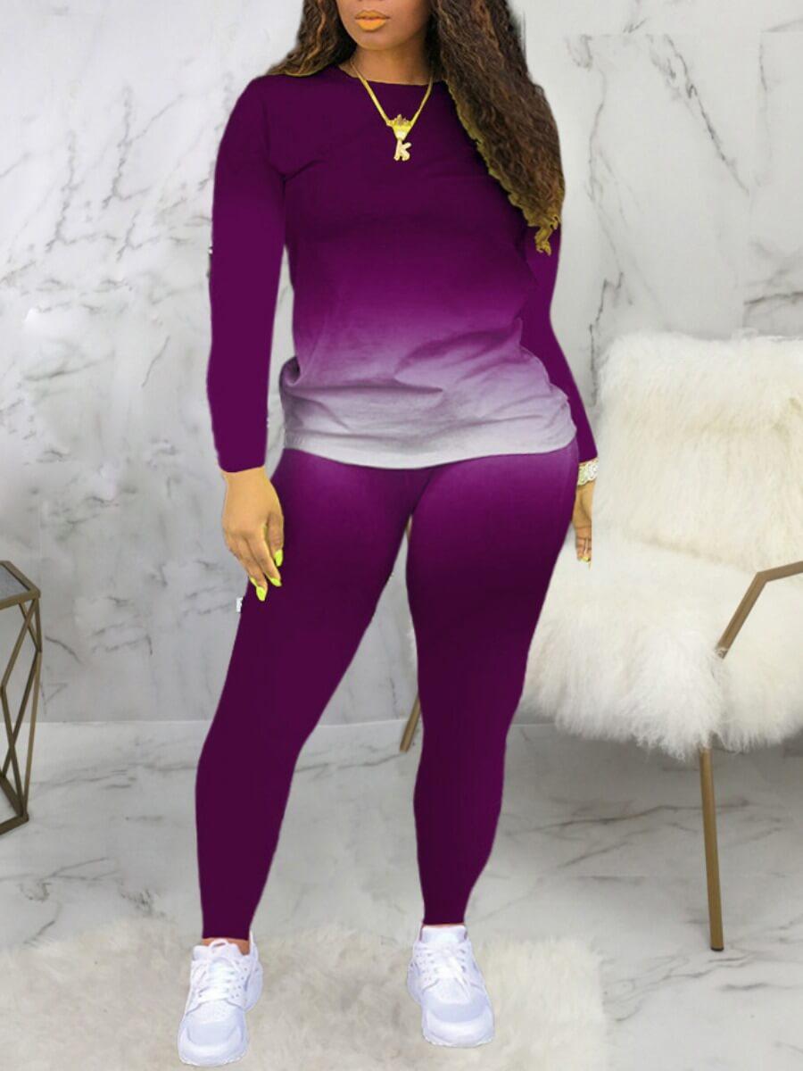 LW Casual O Neck Gradient Print Purple Two Piece Pants Set