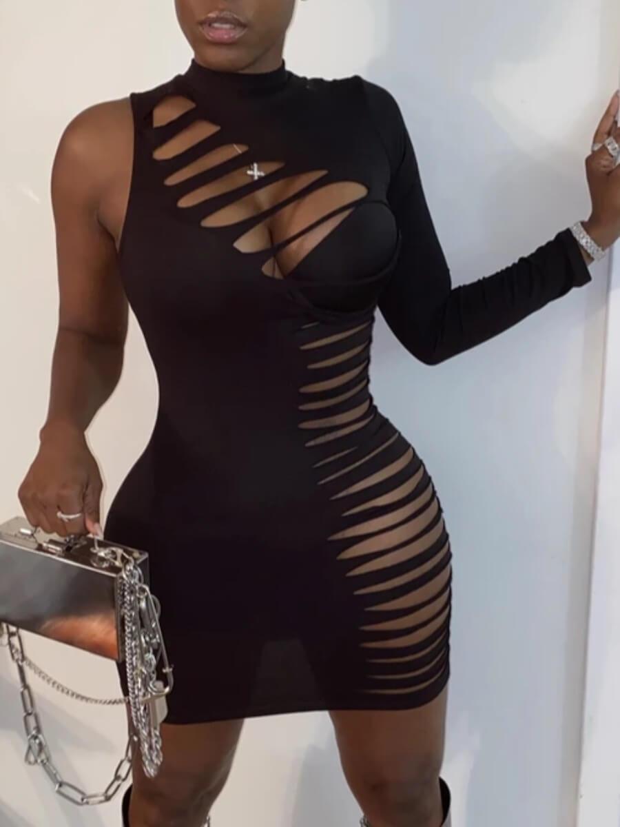 LW SXY One Sleeve Ripped Bodycon Dress