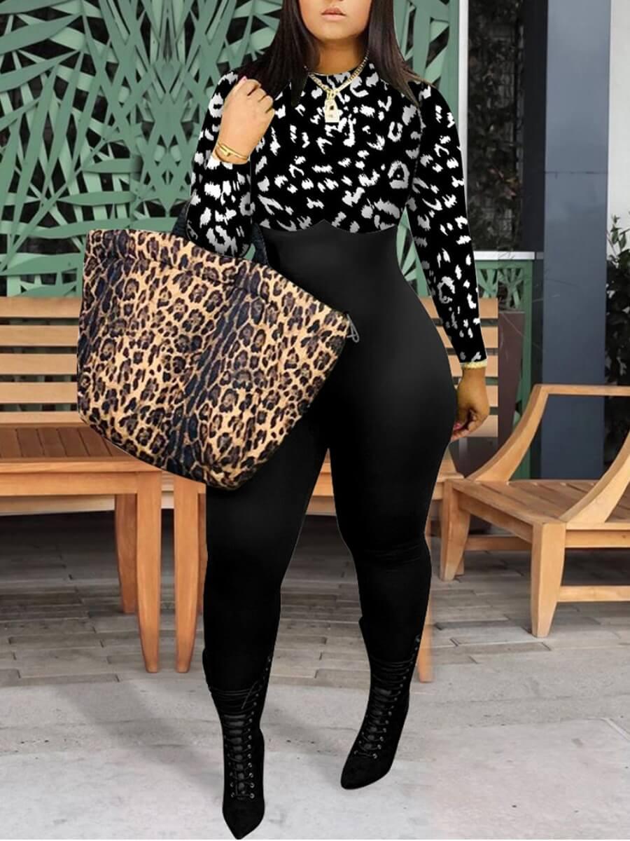 LW Stylish O Neck Patchwork Black One-piece Jumpsuit