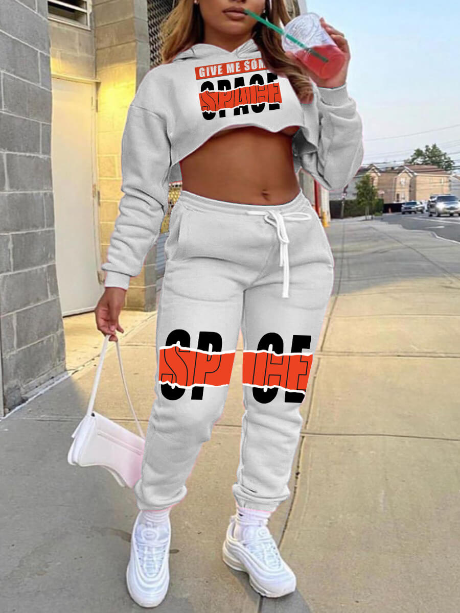Lovely Leisure Hooded Collar Print Crop Top Grey T