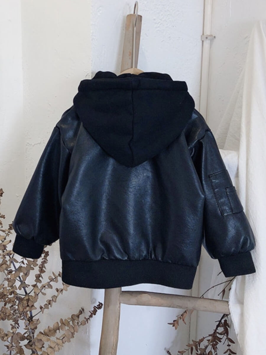 Lovely Street Hooded Collar Zipper Design Black Bo